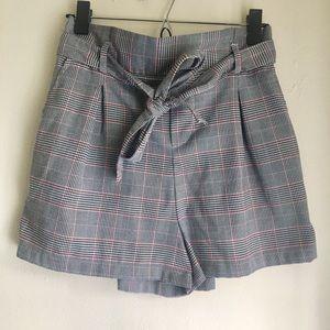 Forever 21 Paper Bag High-Waist Plaid Shorts